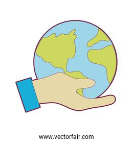 hand with earth planet to environment care over white