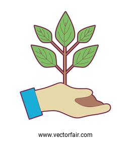 hand with plant with ground to planet conservation