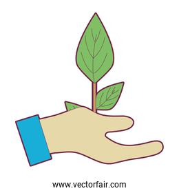 hand with plant to planet conservation