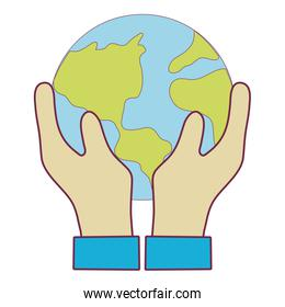 hands with earth planet to environment care