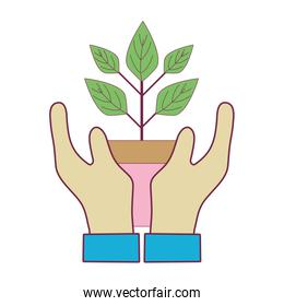 hand with plant with flowerpot to planet conservation