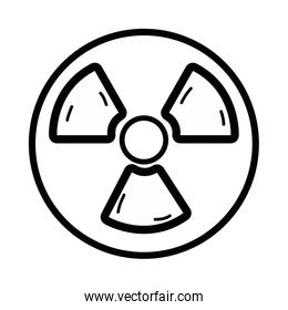 line radiation symbol to dangerous and ecology contamination