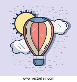 air balloon in the sky with clouds and sun