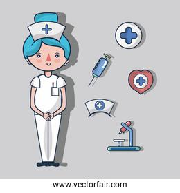 nurse with first aid kit elements
