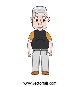 old man with hairstyle and casual clothes