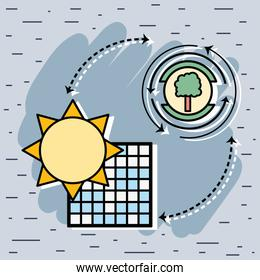 solar energy with tree symbol conservation
