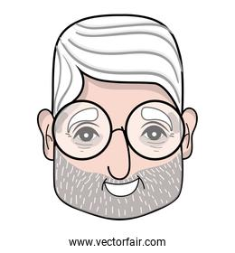 old man face with glasses and hairstyle