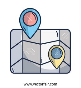 geography map with points to location