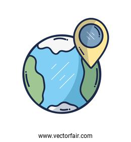 earth planet with point with location