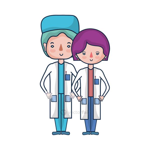 woman and man doctors with their uniform
