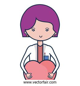 specialist woman doctor with heart