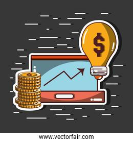 arrow up to financial business with coins and bulb