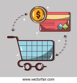 shopping card with credit card and coin