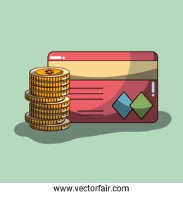 coins with credit card financial economy