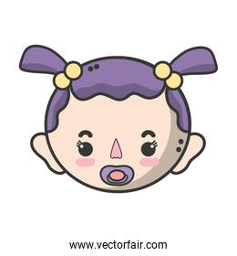 baby girl head with pacifier and hairstyle