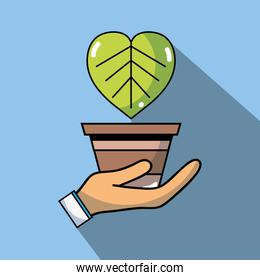 hand with natural plant to ecology conservation