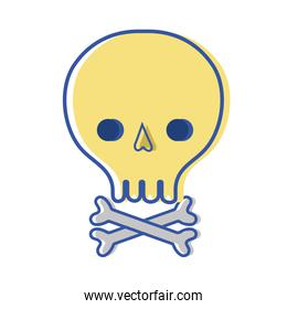 skull with bones to danger and warning symbol