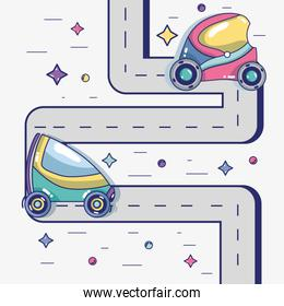 futuristic cars on the street with modern element