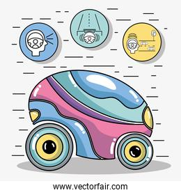 futuristic car with modern elements icons