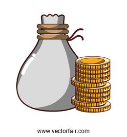 coins cash money with bag isolated icon