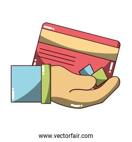 credit card electronic currency in the hand