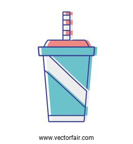 delicious refreshment in the plastic cup to drink