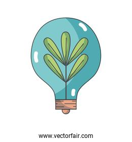 bulb with plant and leaves inside icon