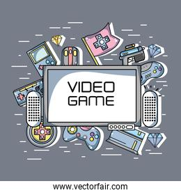 television with videogames technology elements background