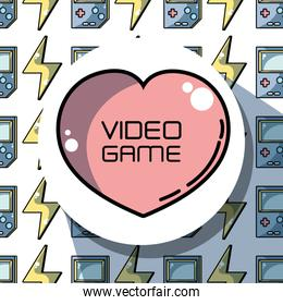 emblem heart with videogame technology background