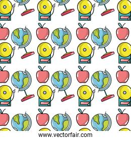 school tools with apple fruit background design