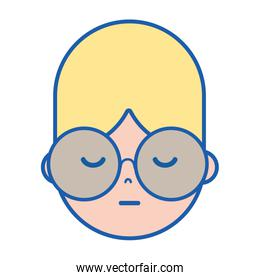 boy face with glasses and hairstyle design