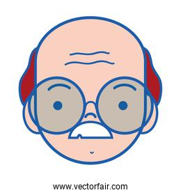 old man face with glasses and mustache