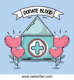 blood donation house with heart plant