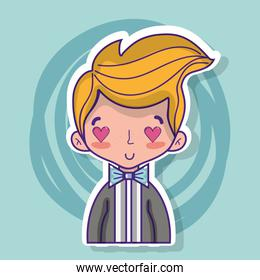 groom lover with suit and hairstyle design