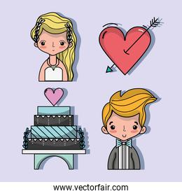 set bried and groom with pastel and heart with arrow