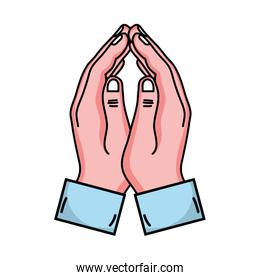 person hands together with fingers