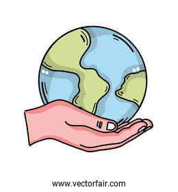 hand with earth planet isolated icon