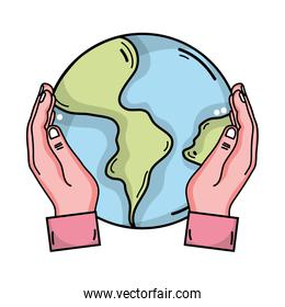 hands with global earth planet and geography ubication