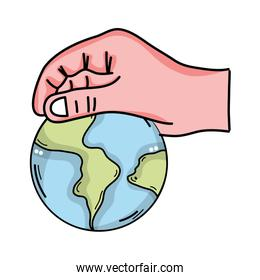 hand with earth planet icon isolated