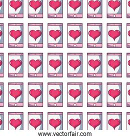 smartphone technology with heart love design background