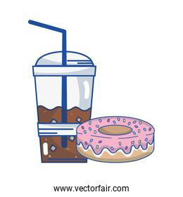 delicious donut with coffee plastic cup