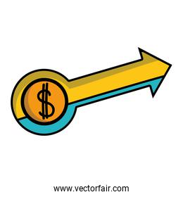 business arrow with coin to business strategy