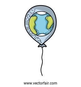 cute balloon with earth planet design