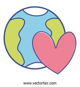 earth planet with heart symbol of love