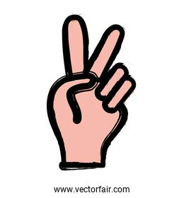 nice hand with peace and love symbol