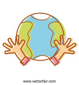 earth planet with hands and peace symbol
