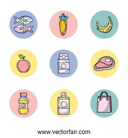 set supermarket variety food nutrition to shopping