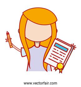 girl with notebook and hairstyle design