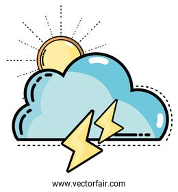 cute cloud with sun and thunder weather