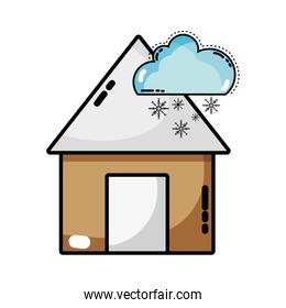 house with cloud snowing natural weather